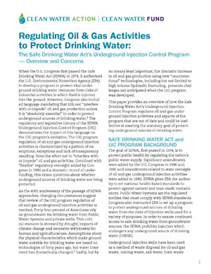 The Safe Drinking Water Act's Underground Injection Control Program — Overview and Concerns - Download the Report