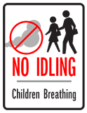 No idling zone sign, version 6
