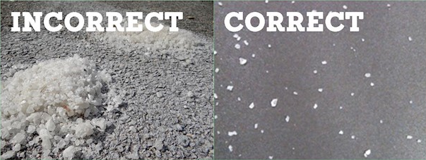 Correct and incorrect road salt usage.