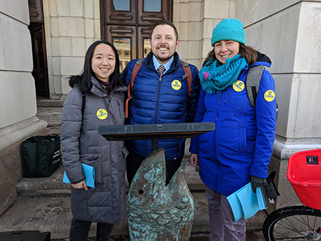 Left to right: ReThink Disposable intern Annie Huang, Johnathan Berard, Michelle Beaudin.
