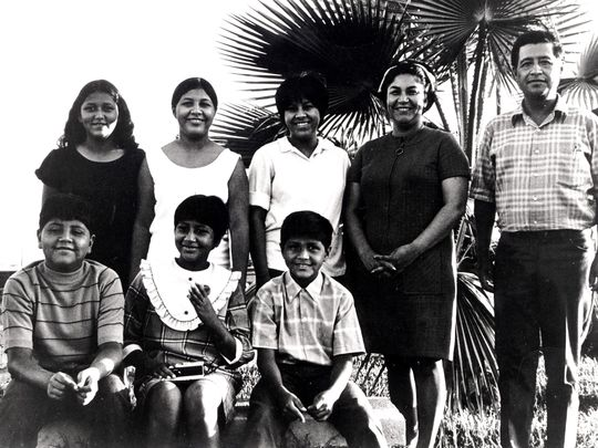 Helen and Cesar Chavez with six of their eight children in 1969 near Delano, California. Standing from left are Anna, Eloise and Sylvia. Seated from left are Paul, Elizabeth and Anthony. (Photo: United Farm Workers)