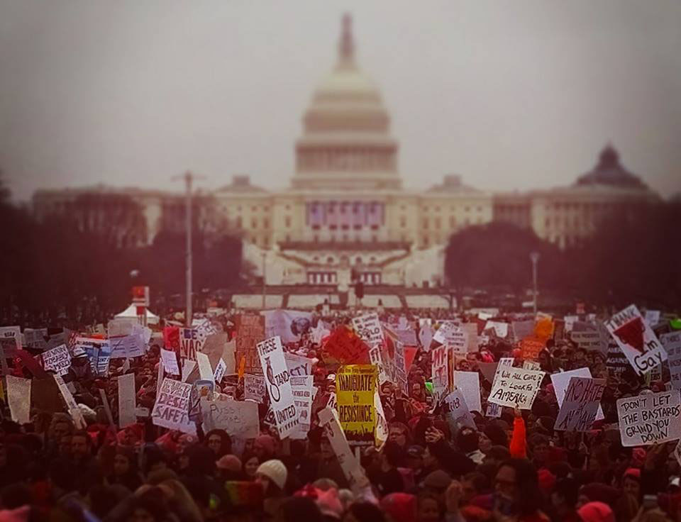 Marchers with CApitol in background during the Women's March on Washington. Credit: Michael Kelly