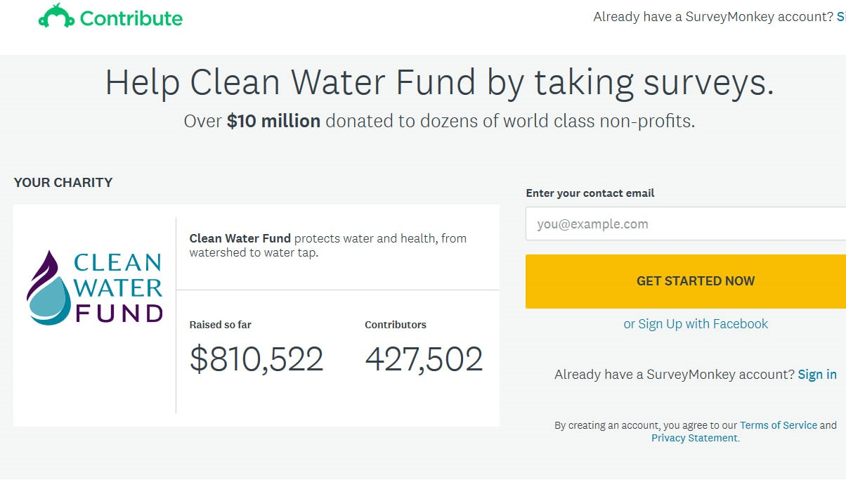 Raise funds for Clean Water by taking surveys!