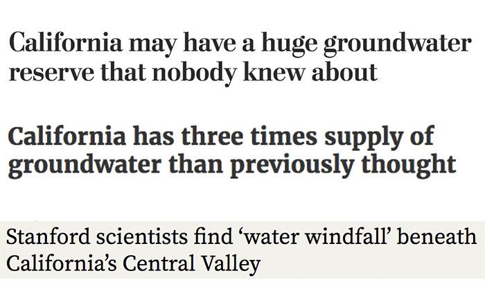 Recent headlines on California Groundwater