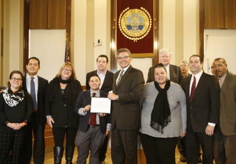 Clean Water Action presents the Lead Reduction Leadership award to the City of Chelsea