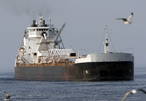 Freighter on the Great Lakes
