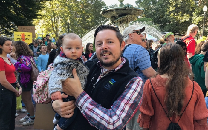 John and Henri at the Climate Strike