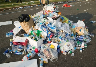 A pile of waste after an event