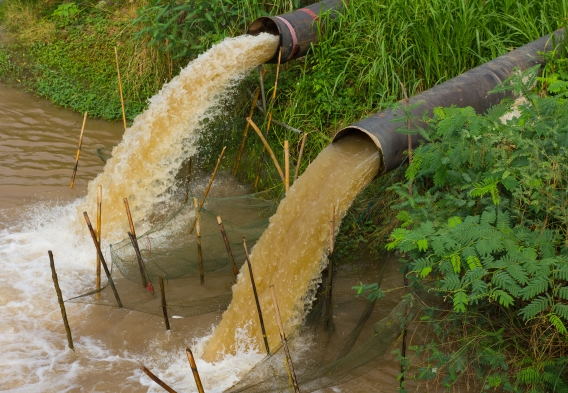 Pipes discharging wastewater