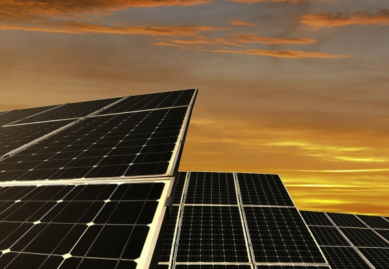 Solar panels, sunset. Photo credit: vencavolrab / iStock