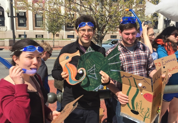 Supporters of Energize RI's carbon pricing bill gather outside the statehouse on Lobby Day.Photo by Kai Salem