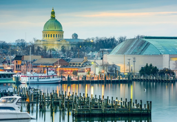 Capitol Dome in Annapolis, view of the Bay. Photo credit: Sean Pavone / Shutterstock