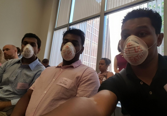 """""""Let us breathe"""" environmental justice protest in Massachusetts"""