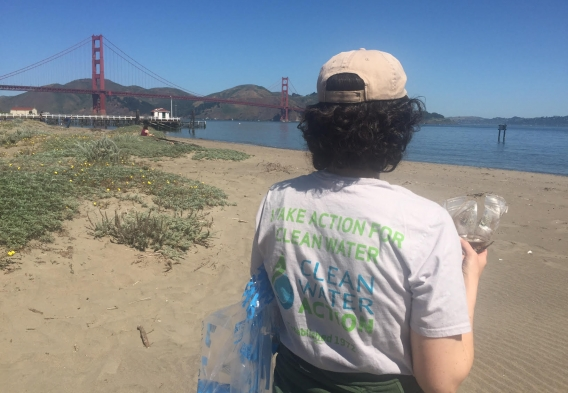 Dara Rossoff Powell leading a beach cleanup at Crissy Field, in San Francisco, on Sunday May 1